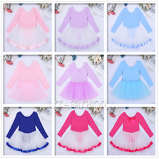 2-12Y Kids Girls Long Sleeve Ballet Dance Dress Leotard Skating Tutu Skirt Party