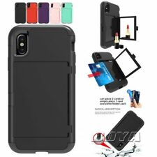 For iPhone 3 in 1 shockproof phone case card holder mirror protective skin