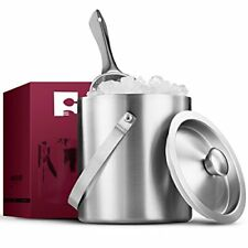 FineDine Brushed Stainless Steel Double-Walled Ice Bucket with Lid, Compact