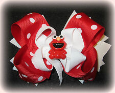 """Red Dot Hair Bow Elmo Hairbow Stacked Boutique Triple Bow Toddler Bows 5 Inch 6"""""""