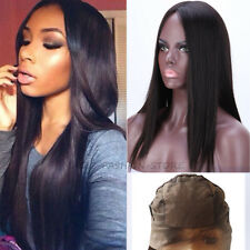 Indian Women Silk Base Human Hair Wig Lace Front Thick Glueless Black Long n4tj