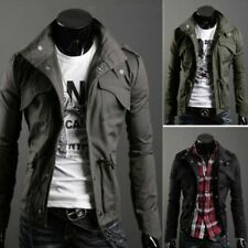Fashion Mens Zip Button Military Slim Fit Collar Jacket Hooded Coat Outwear