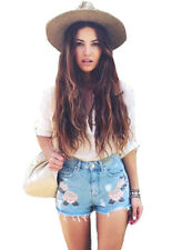 High Waisted Ripped Denim Shorts Rose Embroidered Jean Shorts Hotpants 12 14 16