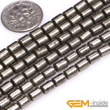 """Natural Silver Gray Pyrite Gemstone Column Tube Beads For Jewelry Making 15"""" YB"""
