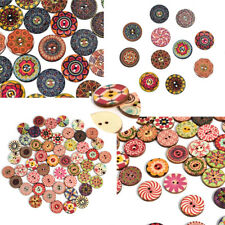 50Pcs Apparel Sewing 2 Holes Wood Button Flower Mixed Color Clothing Decor New