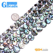 """Coin Gemstone Natural Abalone Shell Loose Beads Strand 15"""" Jewelery Making Beads"""
