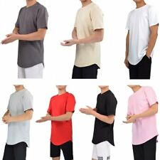 Men's 100% Cotton Solid Hip Hop T Shirt Short Sleeve Streetwear Curved Hem Tees