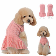 Pink Small Girl Dog Warm Sweater Clothes Knit Dog Skirt Coat Apparel Costumes
