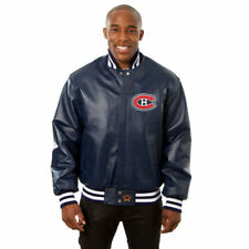 NHL Montreal Canadiens JH Design  Leather Jacket with  Leather logos Navy