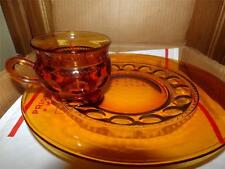 6 Vntg MIB Amber Indiana Glass Colony gold crown  Luncheon Snack Sets~Cup/Plate