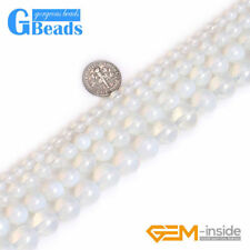 "Round White Opalite Loose Beads For Jewelry Making Strands 15"" Free Shipping"