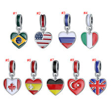 European Silver National Flag Charms Beads Pendant Fit Necklace Bracelet Chain