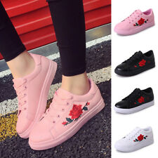 Latest Women's Fashion Leather Rose Flower Casual Lace Up Sneakers Trainer Shoes