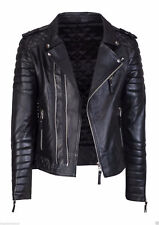 Classic Diamond Quilted Black Biker Slim Fit Motorcycle Real Leather Jacket