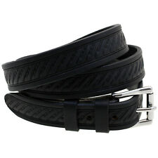 Orion Leather 1 1/8 Embossed Black Bridle Leather Belt Mens Made In USA