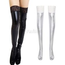 Women PT Leather Lace Top Wet Look Thigh High Stockings Hold Stay up Nightwear