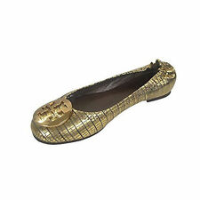 NEW Tory Burch Reva Metallic Leather Metal Logo Ballet Flats Shoes