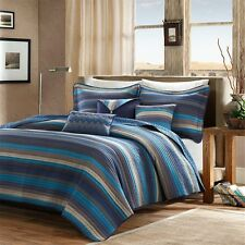 Quilted Coverlet Set - Medium Blue and Earth Tones With Pillows and Shams