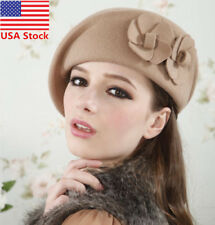 Womens Flower 1920s Vintage Winter Wool Felt Cap Beret Beanie Cloche Bucket Hat
