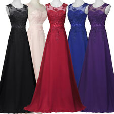 2-16 Formal Lady Long Lace Applique Beaded Wedding Ball Evening Prom Party Dress