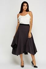 BNWT*LADIES*SIZE*18* BLACK* TEXTURED* ASYMMETRICAL* ELASTICATED*WAIST*Midi*SKIRT
