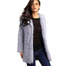 Winter Wool coat Outerwear Women's Pink Faux Fur Long Sleeve Cardigan READ