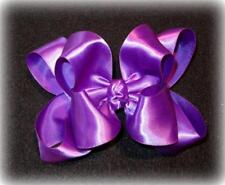 Purple Satin Double Layered Fancy Hair Bows Girls Glamor Party Hairbows Pageant