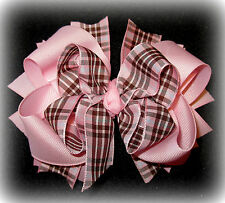 Baby Pink Brown Plaid Boutique Hair Bow 3 layers of Loops Spikes Funky Hairbow