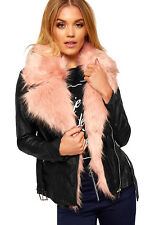 Womens Faux Neon Fur Collar Lined Leather Look Belted Long Sleeve Ladies Jacket
