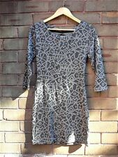 BNWT ~ SOMETHING ELSE By Natalie Wood Tribal Keyhole Back Stretch DRESS Grey