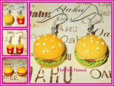 BBQ Cheese Hamburger French Fries Fast Food Silver Plated Earrings Big Mac USA