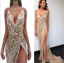 Sequins Backless Mermaid Dress Cocktail Party Ball Gown Evening Long Dress