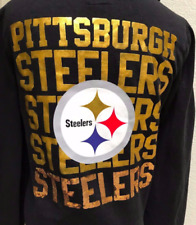 Pink By Victorias Secret Black Gold Sequin NFL Pittsburgh Steelers Hoodie Small