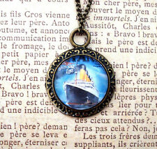 Titanic Pendant Necklace (Handcrafted, Round, Vintage Antique Style, Boat, Ship)