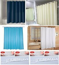 EXTRA LONG PLAIN FABRIC SHOWER CURTAIN WATERPROOF 100% POLYESTER WEIGHTED HEM