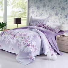 Exquisite Purple Rose patterned 4PC bed set queen size cotton