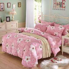 Vibrant pink with lovely floral patterns 4PC bed set queen size cotton