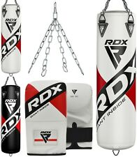 RDX Punching Bag UNFILLED Boxing Mitts 4FT/5FT MMA Heavy Gloves Steel Chains US