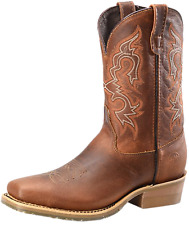 """Double H Men's11"""" Domestic Wide Square Toe Work Western Boot - Light Brown"""