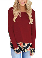 Womens Casual Long Sleeve Floral Patchwork T-shirt Blouse Tops