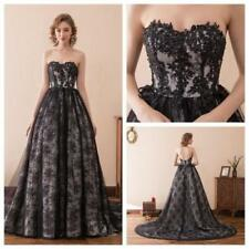 Black A Line Applique Strapless Bridesmaid Wedding Long Dresses Prom Ball Gowns