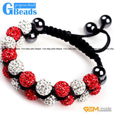 "10mm Czech Rhinestone Pave Ball 20 Beads Bracelet Adjustable 6""-8"" Free Shipping"
