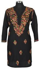 Black Long Chikan Shirt top kurti Lucknow Hand embroidery tunic India J70