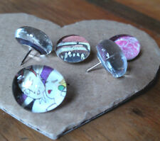 Handmade round glass pushpins/tacks, set of six, many patterns, every one unique