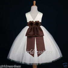 IVORY/BROWN CHOCOLATE PAGEANT PARTY WEDDING FLOWER GIRL DRESS 12M 2 4 6 8 10 12