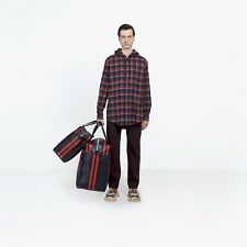 BALENCIAGA 795$ Authentic New Red Cotton Hooded Checked Flannel Shirt