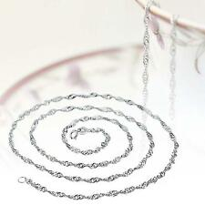Fashion Pure Solid 925 Sterling Silver Rope Chain Necklace with Lobster Clasp TA