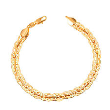 U7 Rolo Cable Link Chain Bracelet Bangle 18K Gold Plated Fashion Men Jewelry 7MM