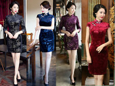 5 Colors Chinese Women's velvet Dress Mini Cheongsam QiPao Evening Short Dress