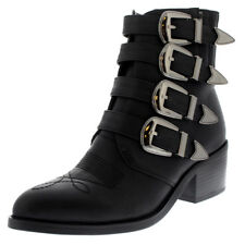 Womens Combat Military Army Rock Retro Fashion Punk Strappy Ankle Boots UK 3-10